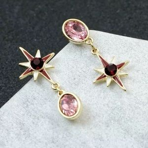 Betsey Johnson Red and Pink Starburst Earrings